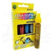 COLA GLITTER ACRILEX 15G CAIXA C/ 4 CORES