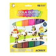 COLA GLITTER ACRILEX 23 G CAIXA C/ 12 CORES