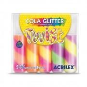 COLA GLITTER TWIST ACRILEX 23 G CAIXA C/ 5 CORES