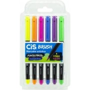 KIT CANETA CIS BRUSH PINCEL AQUARELAVEL - 6 CORES NEON