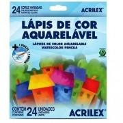 LÁPIS DE COR ACRILEX 24 CORES AQUARELÁVEL
