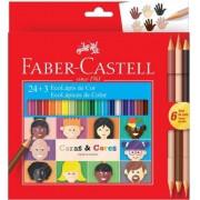 LÁPIS DE COR FABER-CASTELL 24 CORES + 6 CORES PELE