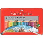 LAPIS DE COR FABER-CASTELL 36 CORES GRIP LATA