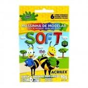 MASSINHA DE MODELAR SOFT ACRILEX 90G 6 CORES