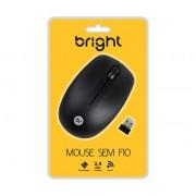 MOUSE SEM FIO USB BRIGHT - PRETO COD. 0404