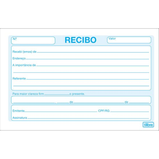BLOCO RECIBO COMERCIAL SEM CANHOTO 50 FOLHAS - TILIBRA