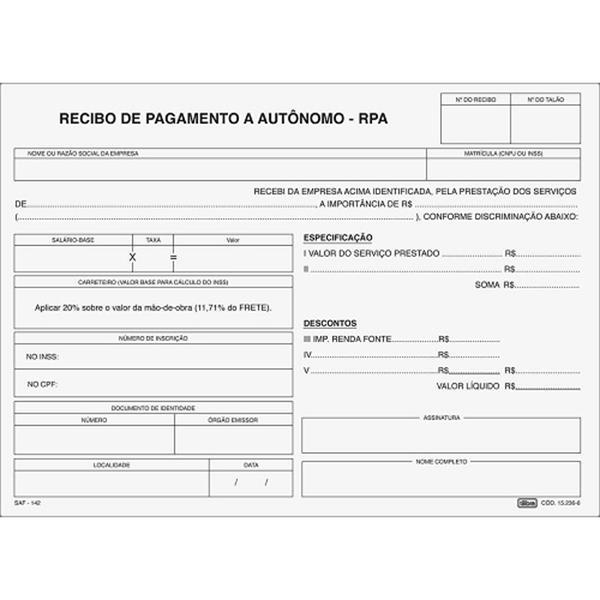 BLOCO RECIBO DE PAGAMENTO A AUTÔNOMO - RPA - TILIBRA