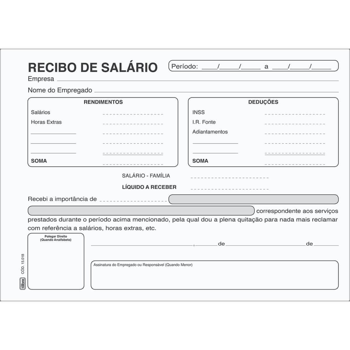 BLOCO RECIBO DE SALARIO 100 FOLHAS - TILIBRA