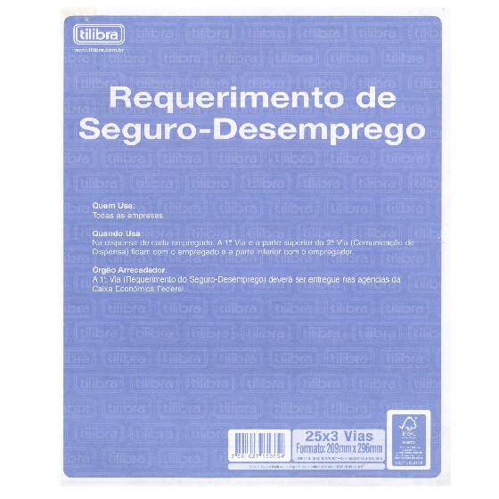 BLOCO REQUERIMENTO DE SEGURO-DESEMPREGO 25 X 3 VIAS - TILIBRA