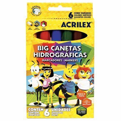 CANETA HIDROGRÁFICA BIG ACRILEX 6 CORES