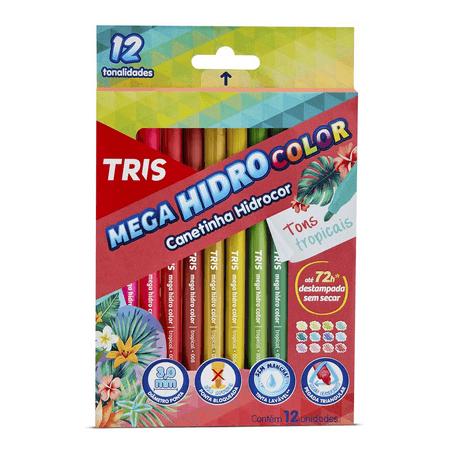 CANETA HIDROGRÁFICA TRIS 12 CORES TONS TROPICAIS