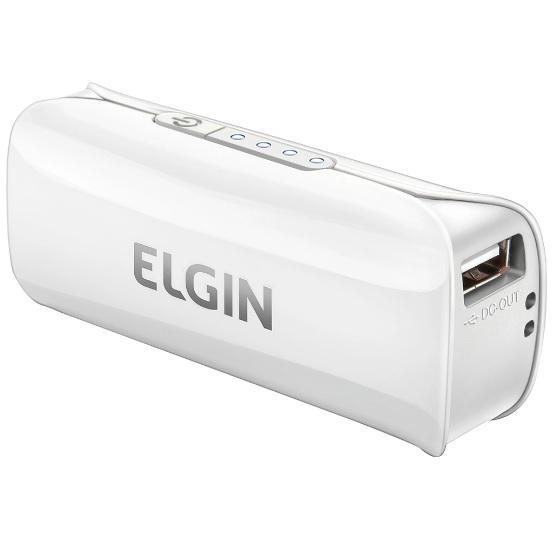 CARREGADOR PORTÁTIL USB POWER BANK ELGIN 2600 BRANCO