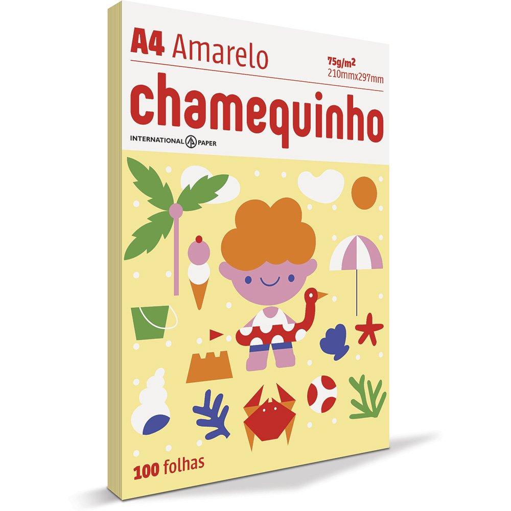 CHAMEQUINHO A4 100 FOLHAS - AMARELO