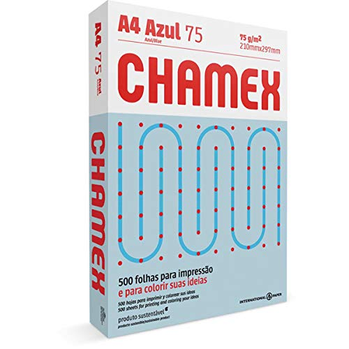 CHAMEX COLORS A4 75G 500 FOLHAS AZUL