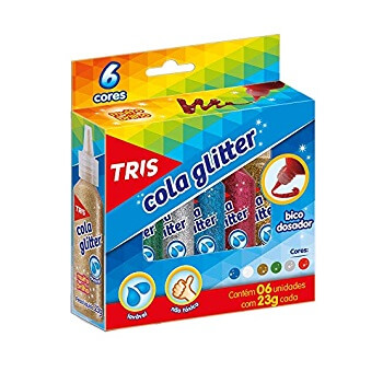 COLA GLITTER TRIS COM 6 CORES