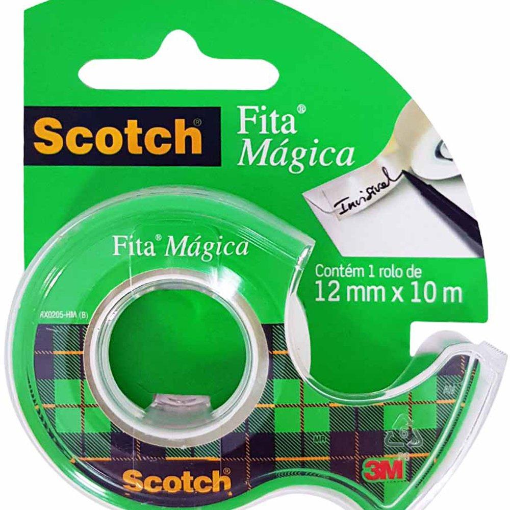FITA MAGICA SCOTH 12 MM X 10 M COM PORTA FITA