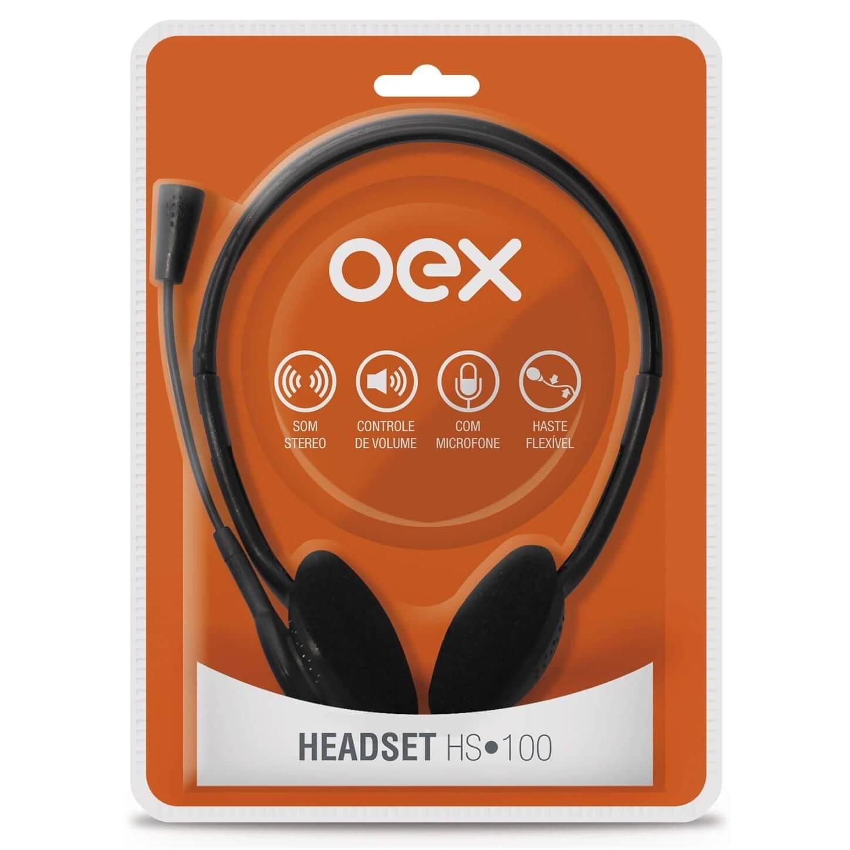 FONE DE OUVIDO COM MICROFONE (HEADSET) HS-100 - OEX