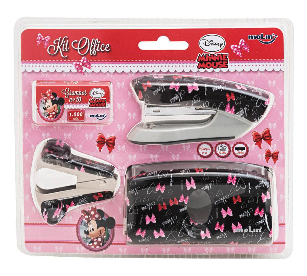 KIT OFFICE DESK MOLIN MINNIE 4 PEÇAS (GRAMPEADOR - FURADOR - EXTRATOR - GRAMPOS)