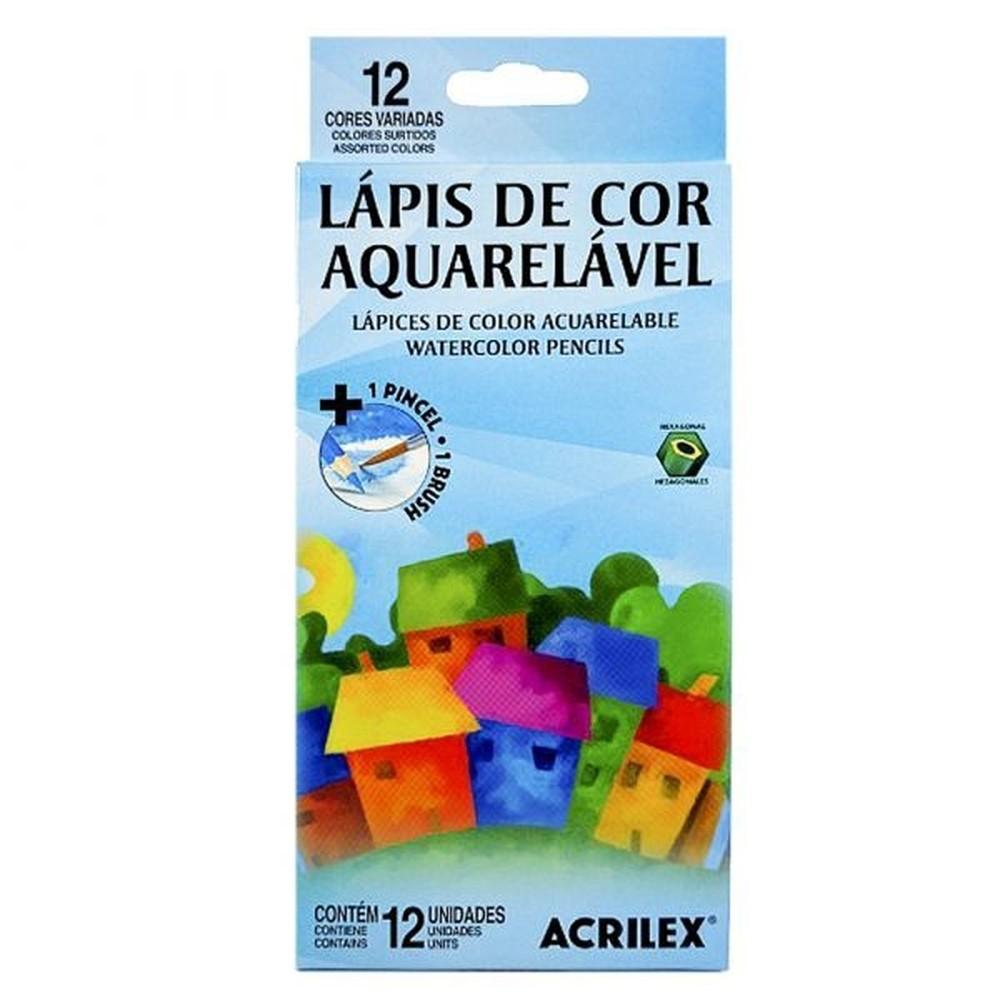 LÁPIS DE COR ACRILEX 12 CORES AQUARELAVEL