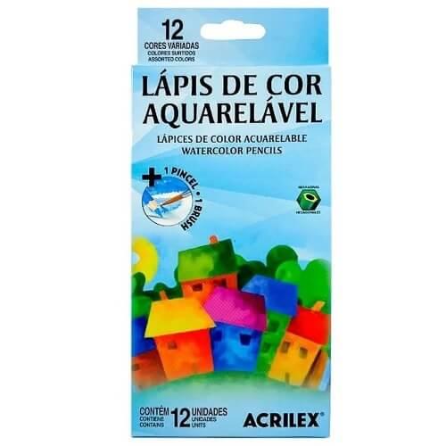 LÁPIS DE COR ACRILEX 12 CORES AQUARELÁVEL