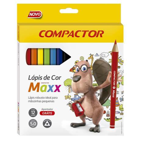 LÁPIS DE COR COMPACTOR 12 CORES JUMBO MAXX