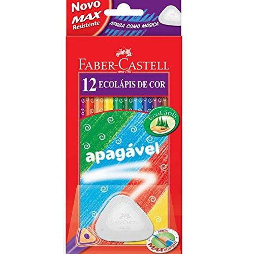 LÁPIS DE COR FABER-CASTELL 12 CORES APAGÁVEL COM 1 BORRACHA