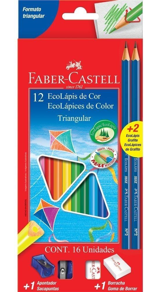 LÁPIS DE COR FABER-CASTELL 12 CORES TRIANGULAR + KIT