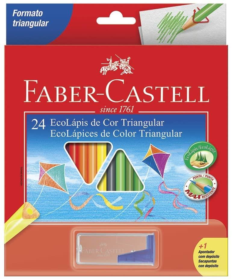 LÁPIS DE COR FABER-CASTELL 24 CORES TRIANGULAR + APONTADOR