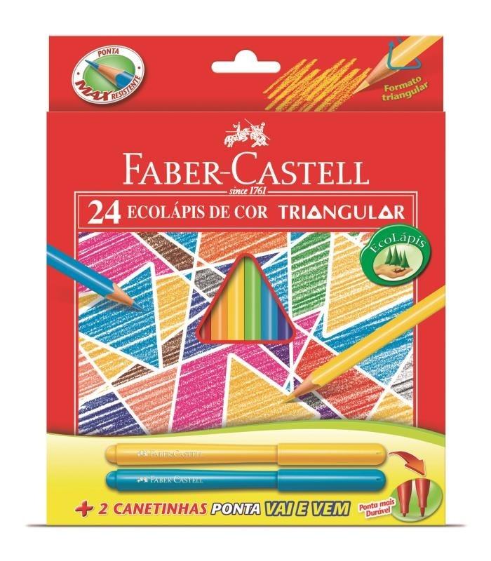 LÁPIS DE COR FABER-CASTELL 24 CORES TRIANGULAR + CANETINHA