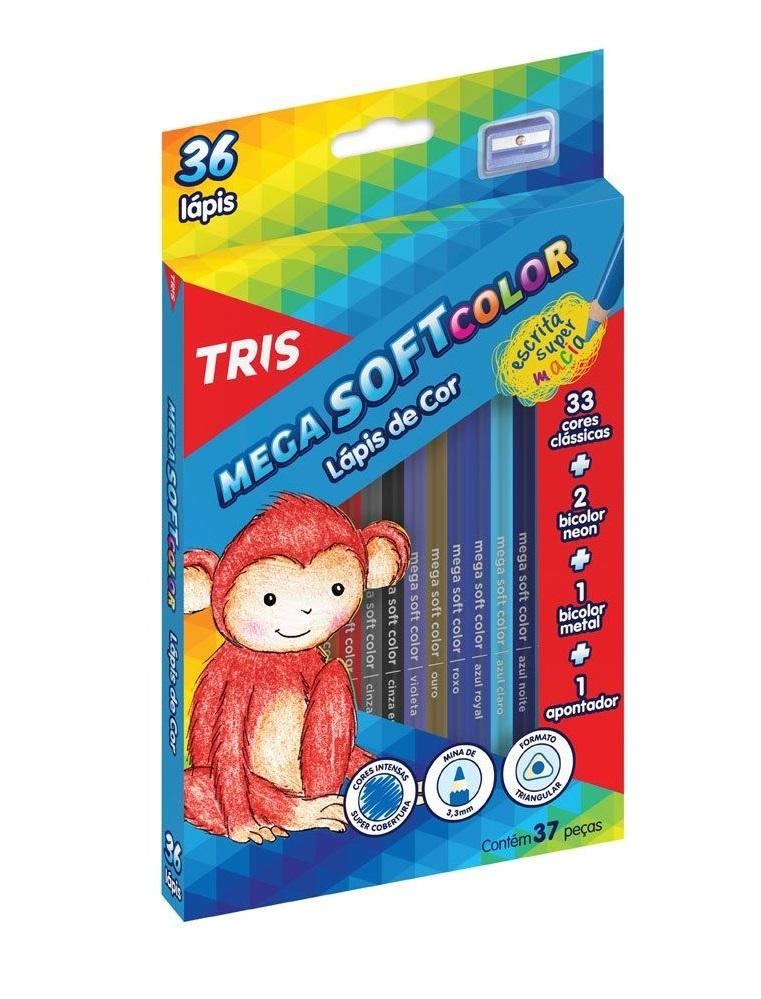LÁPIS DE COR TRIS 36 CORES MEGA SOFT COLOR