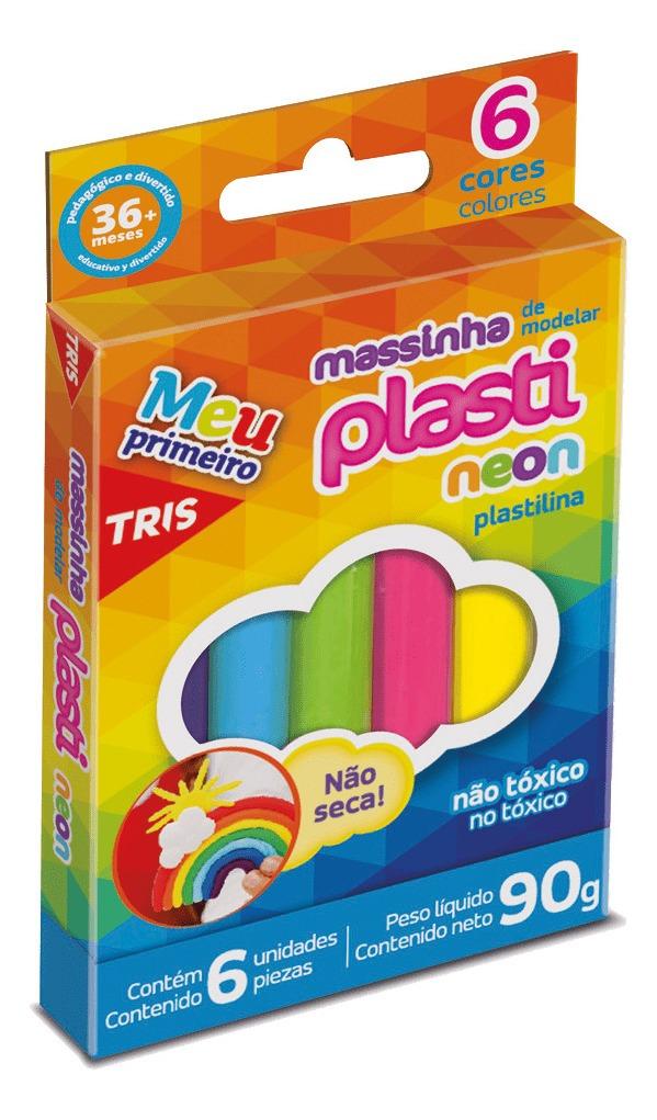 MASSINHA DE MODELAR PLASTILINA TRIS 90G 6 CORES NEON