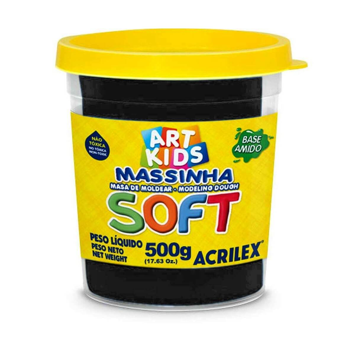 MASSINHA DE MODELAR SOFT ACRILEX POTE 500 G PRETO