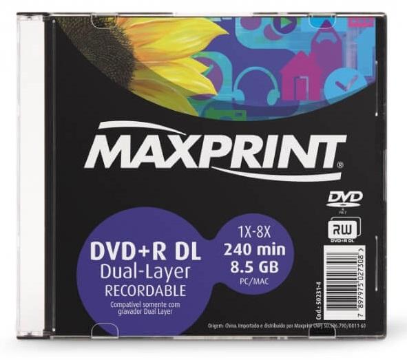 MÍDIA DVD+R DL 8.5 GB CAIXA - MAXPRINT