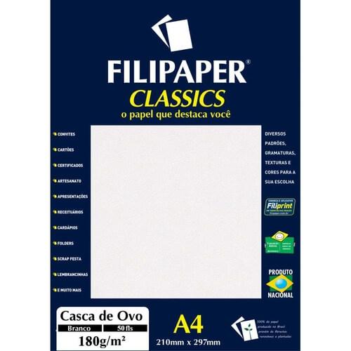 PAPEL CASCA DE OVO A4 180G BRANCO C/ 50 FLS - FILIPAPER