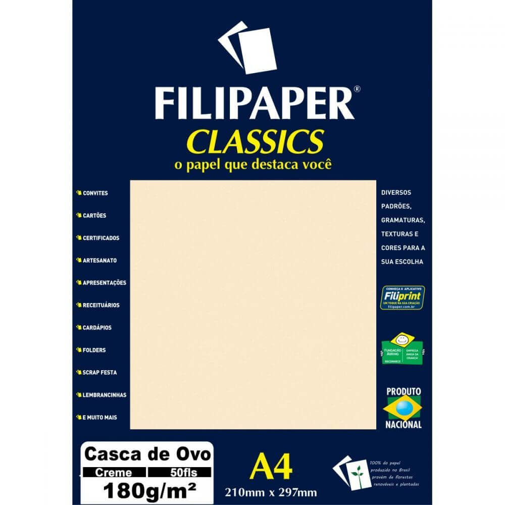 PAPEL CASCA DE OVO A4 180G CREME C/ 50 FLS - FILIPAPER