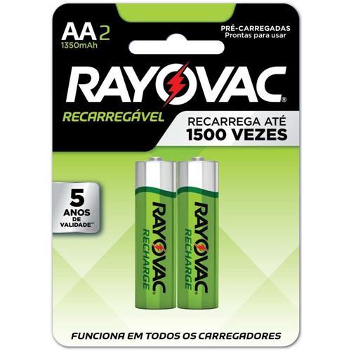 PILHA RECARREGÁVEL RAYOVAC AA2 NIMH 1.2V 1350 MAH C/2 UNIDADES