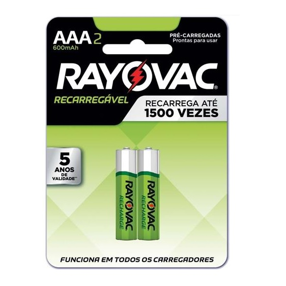 PILHA RECARREGÁVEL RAYOVAC PALITO AAA2 600 MAH C/02 UNIDADES