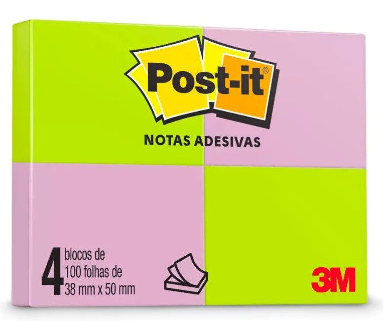 POST-IT 4 BLOCOS 38X50 C/ 50 FLS VERDE, ROSA