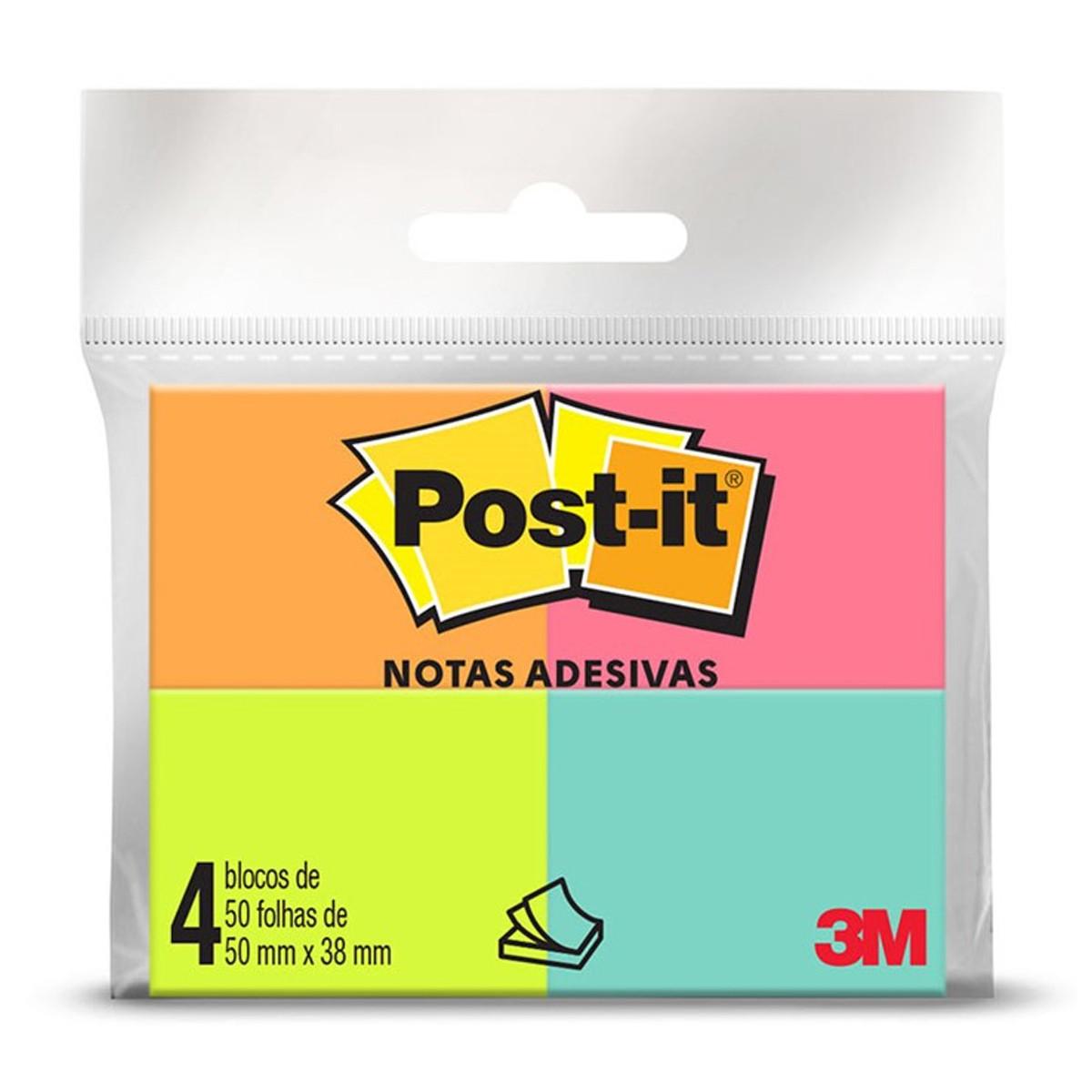 POST-IT 4 BLOCOS 38X50 C/ 50 FLS VERDE, ROSA,AMARELO,LARANJA