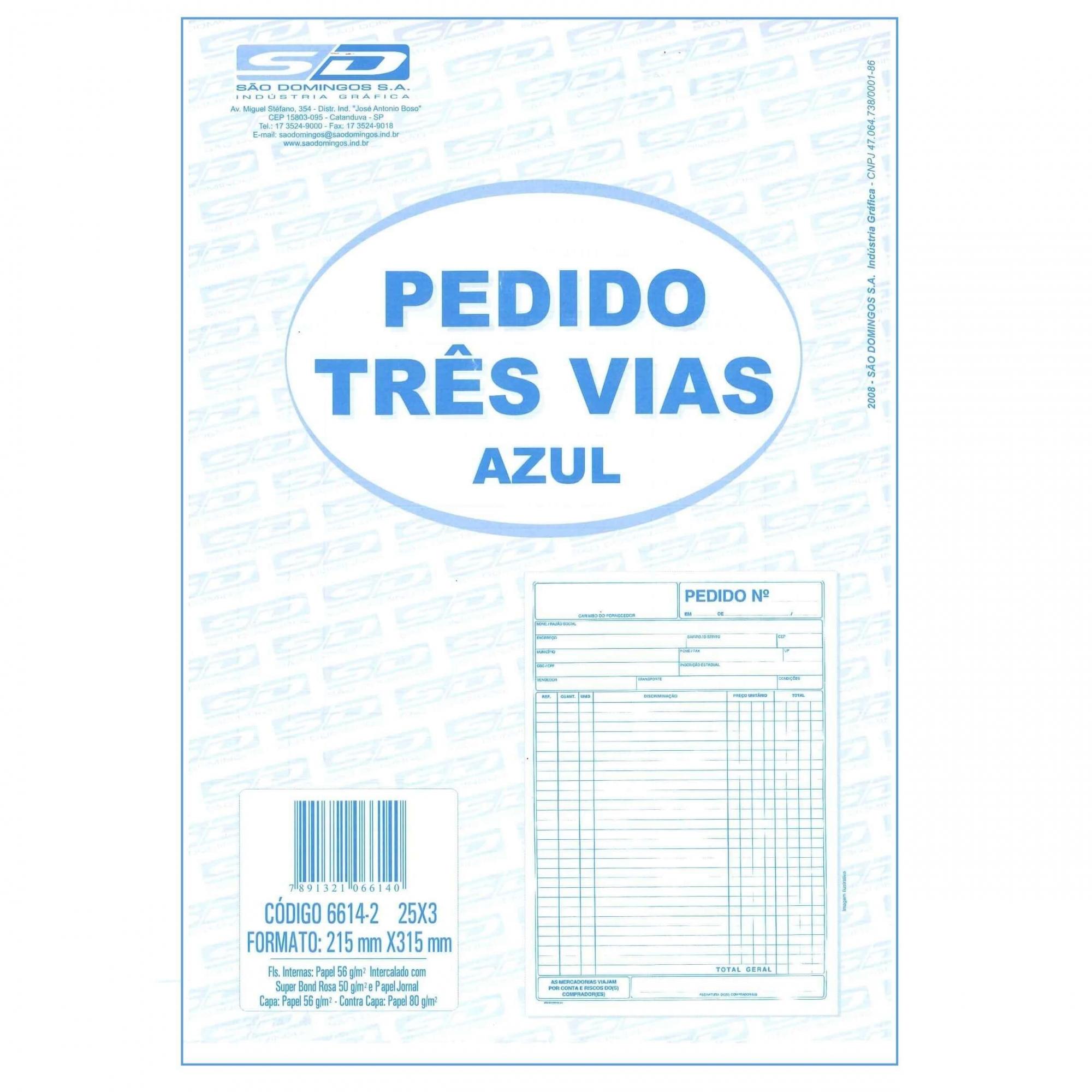 TALÃO DE PEDIDO 1/9 3 VIAS X 25 FOLHAS - SÃO DOMINGOS