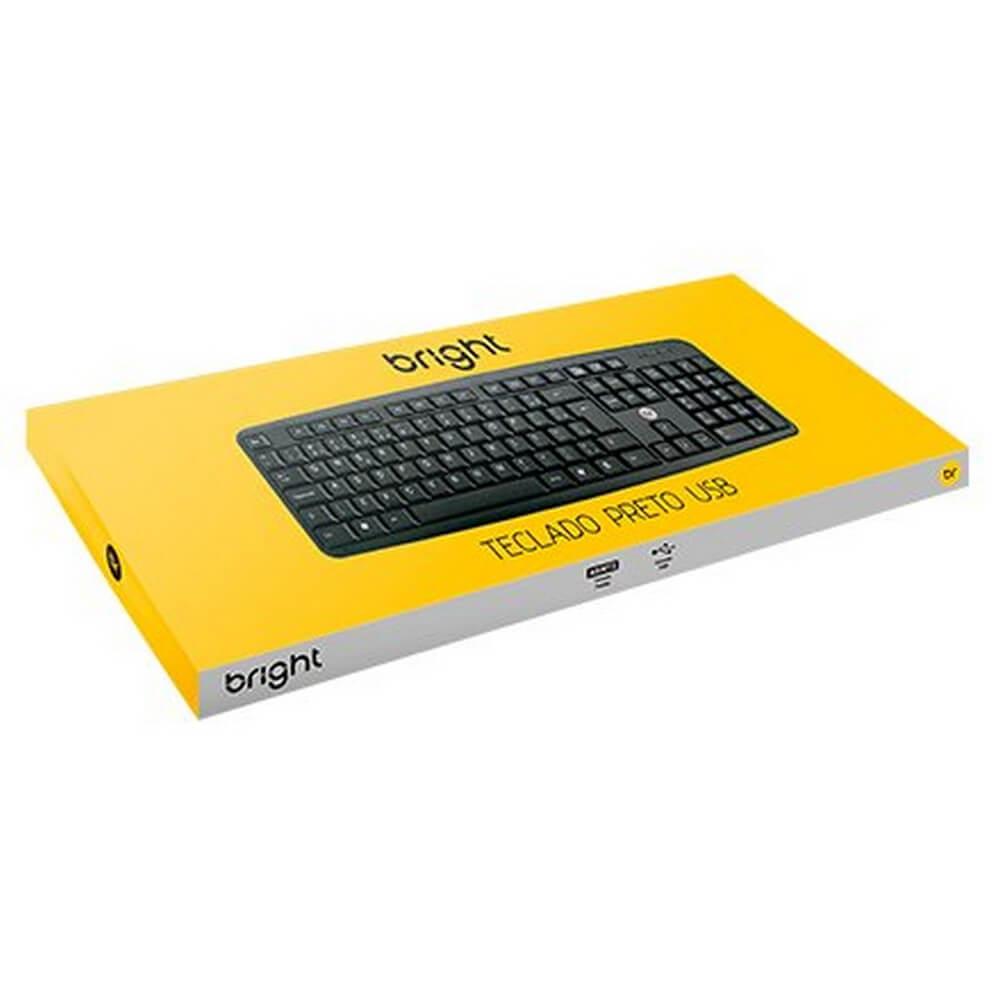 TECLADO USB BRIGHT - PRETO COD. 0014