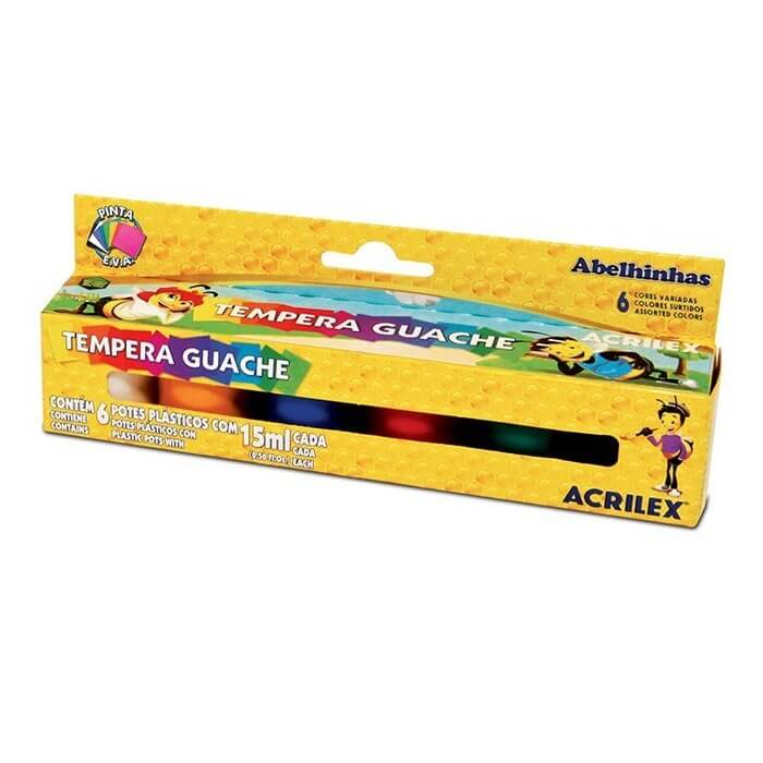TINTA GUACHE ACRILEX 15 ML 6 CORES N