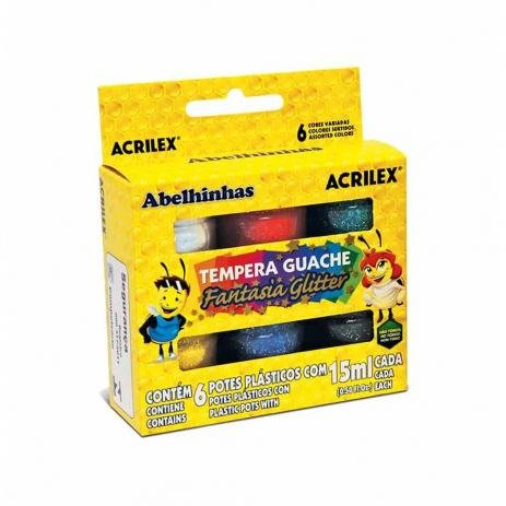 TINTA GUACHE FANTASIA GLITTER ACRILEX 15 ML 6 CORES