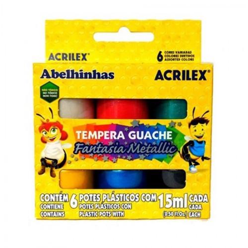 TINTA GUACHE FANTASIA METALLIC ACRILEX 15 ML 6 CORES