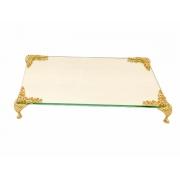 Bandeja Espelhada Com Detalhe Dourada Luxo Lavabo Banheiro 22x14