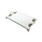Bandeja Espelhada Com Alças Ouro Velho Lavabo Banheiro 30x18