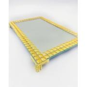 Bandeja Espelhada Com Detalhe Dourada Strass 22x14
