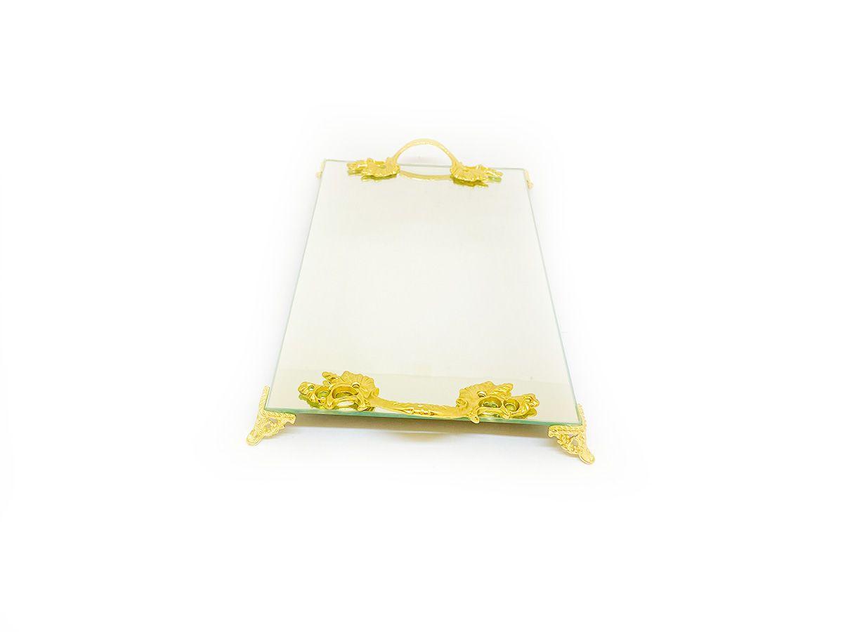 Bandeja Espelhada Com Alça Dourada Luxo Lavabo Banheiro  30x18
