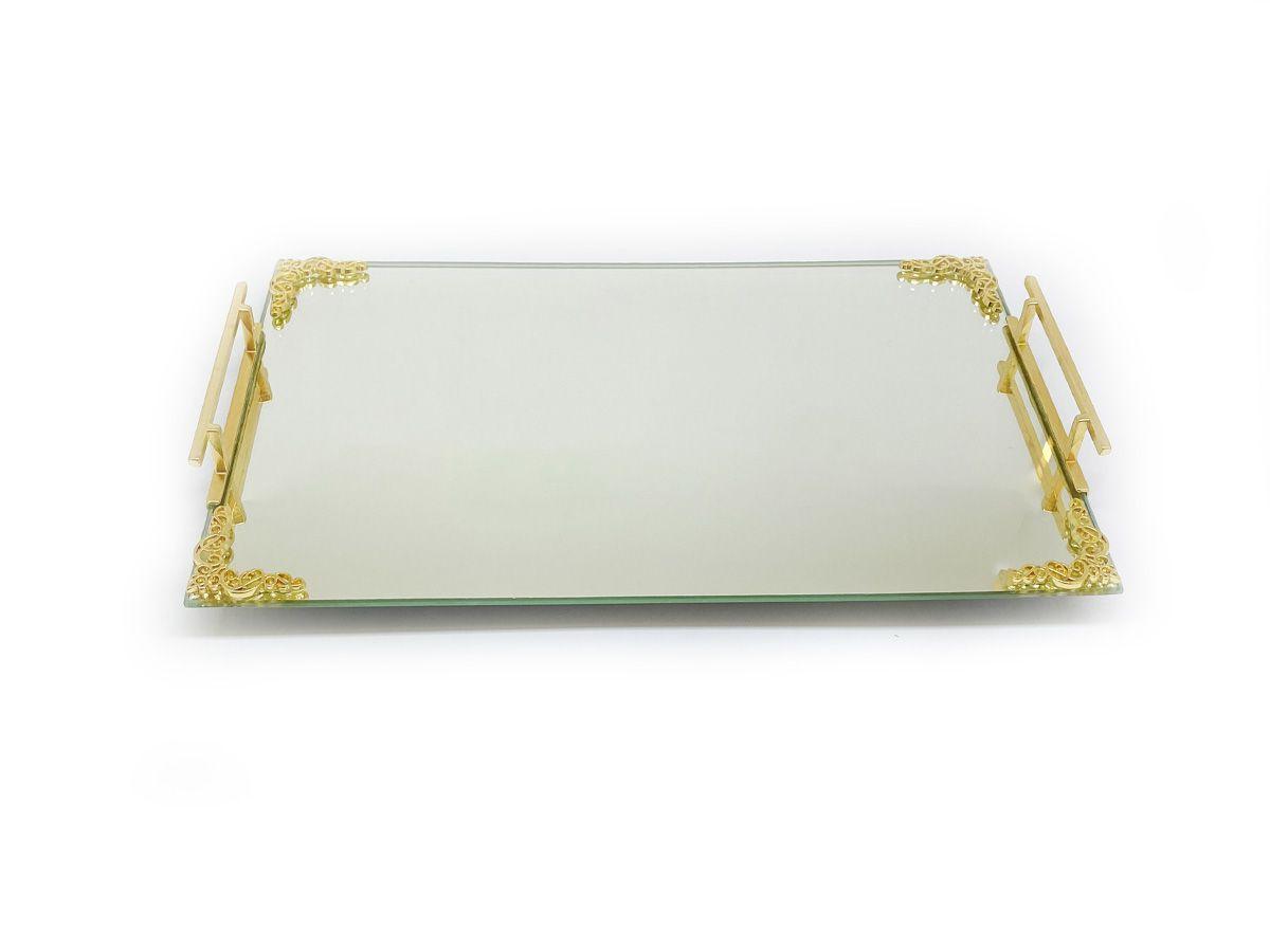 Bandeja Espelhada Lateral Dourada Com Detalhe 30x20