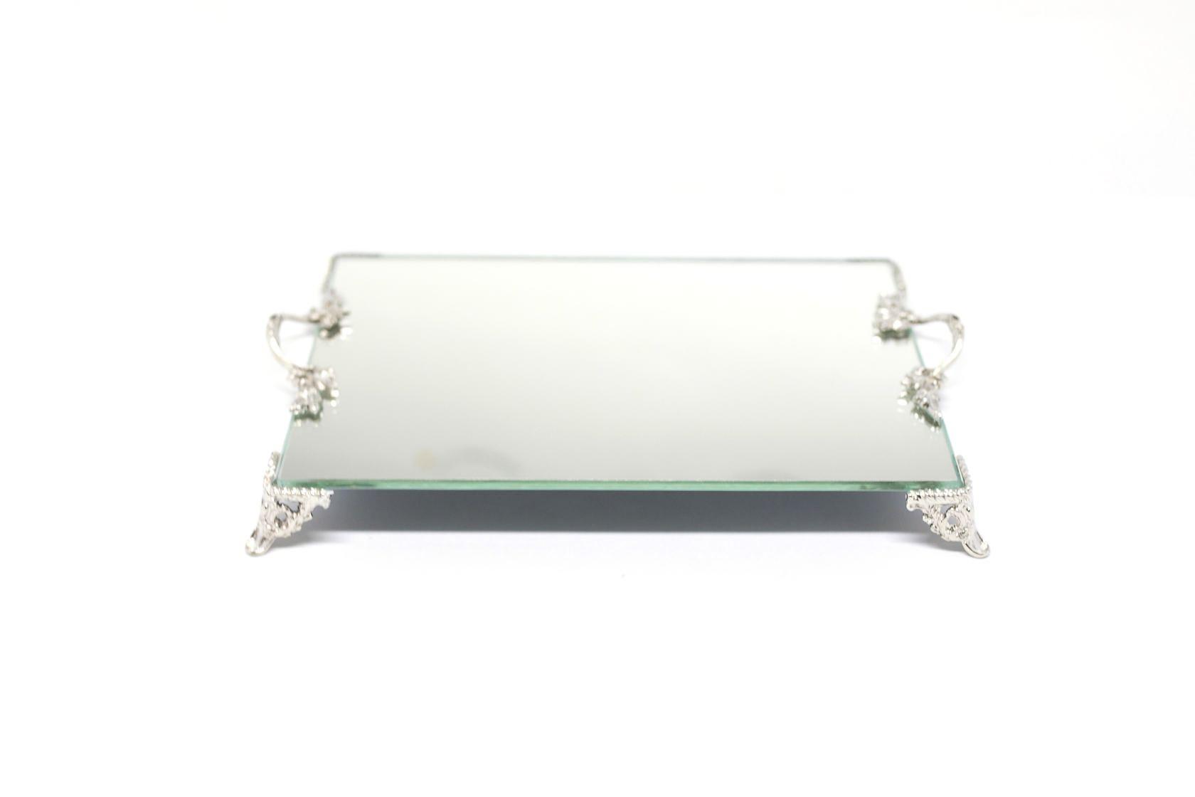 Bandeja Espelhada Com Alça Prata Lavabo Banheiro Sala Luxo 22x14